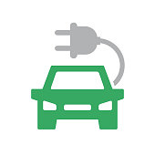 istock Vector electric car icon. Automobile with charging cable symbol and sign illustration on white background. 1062283822