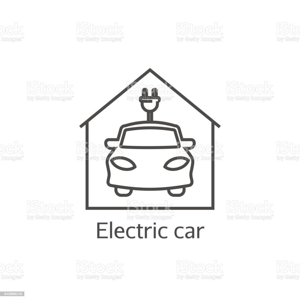 Vector electric car icon vector art illustration