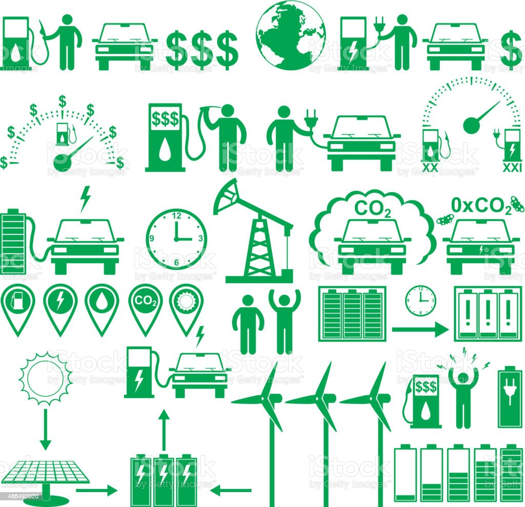 Vector electric cars and Ecology stick pictograms set vector art illustration