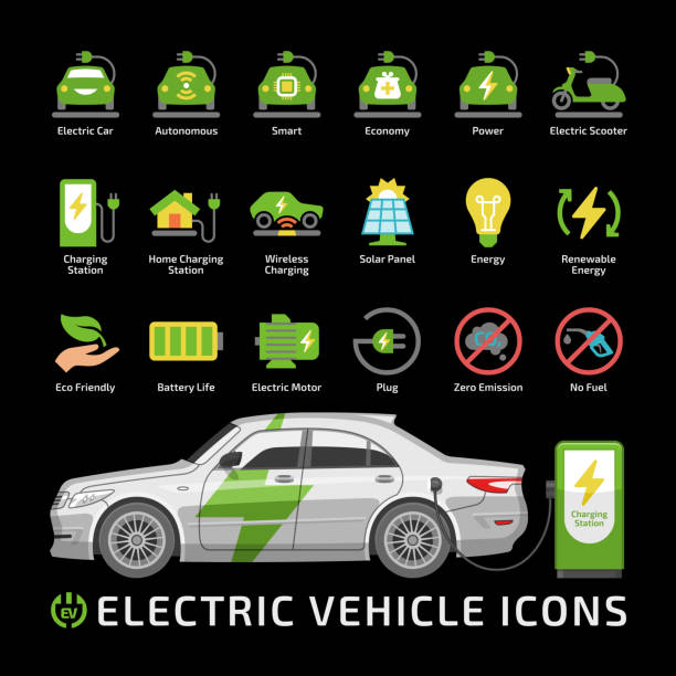 Vector electric eco car color icon set with sedan vehicle mockup and charge station. Electricity transport silhouette flat sign with charger, battery energy power and plug. Vector electric eco car color icon set with sedan vehicle mockup and charge station. Electricity transport silhouette flat sign with charger, battery energy power and plug. hybrid vehicle stock illustrations