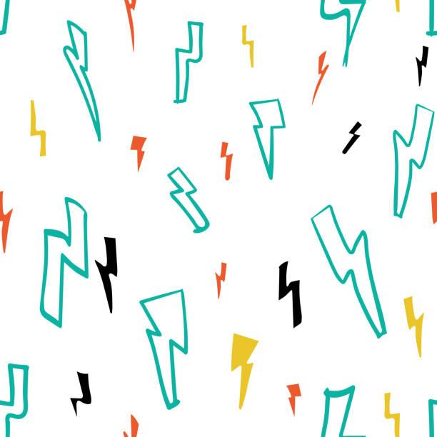 vector electric funky lightning auf weißem, nahtlosem musterhintergrund. - neonhosen stock-grafiken, -clipart, -cartoons und -symbole