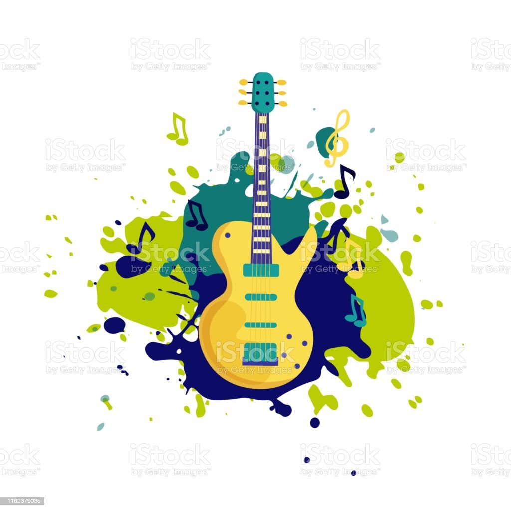 Vector Electric Guitar In Flat Style Design Music Instrument Template For Music Rock Festival Banner Poster Concert Invitation Greeting Card Stock Illustration Download Image Now Istock