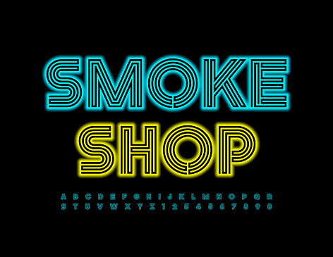 Vector electric logo Smoke Shop. Blue glowing Alphabet Letters and Numbers set