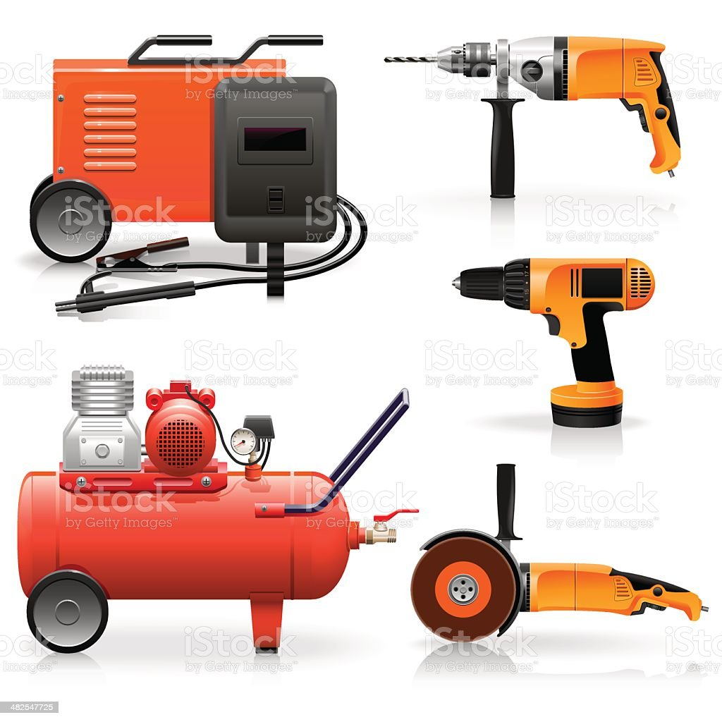 Vector Electric Tools Icons vector art illustration