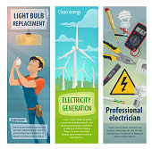 Electrician profession worker and electricity repair work tools banners. Vector electrician man with power electric equipment of electricity socket and light bulb, wires of switcher and ammeter