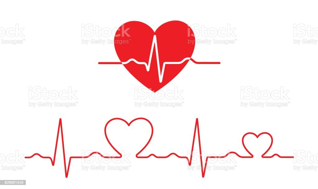 Vector electrocardiogram and heart pattern (health concept) vector art illustration