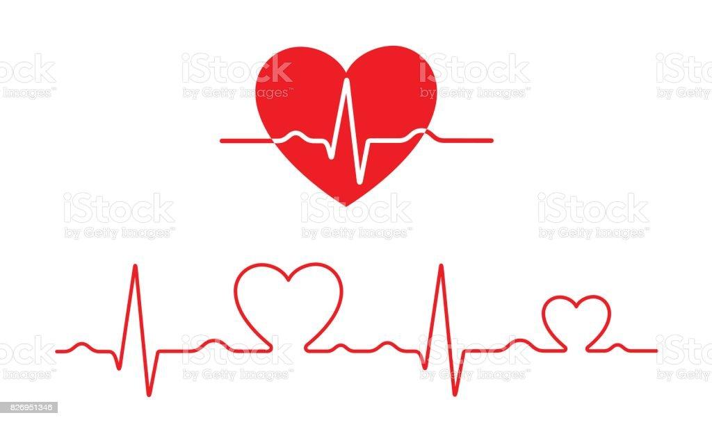 Patrón de vector electrocardiograma y corazón (concepto de salud) - ilustración de arte vectorial