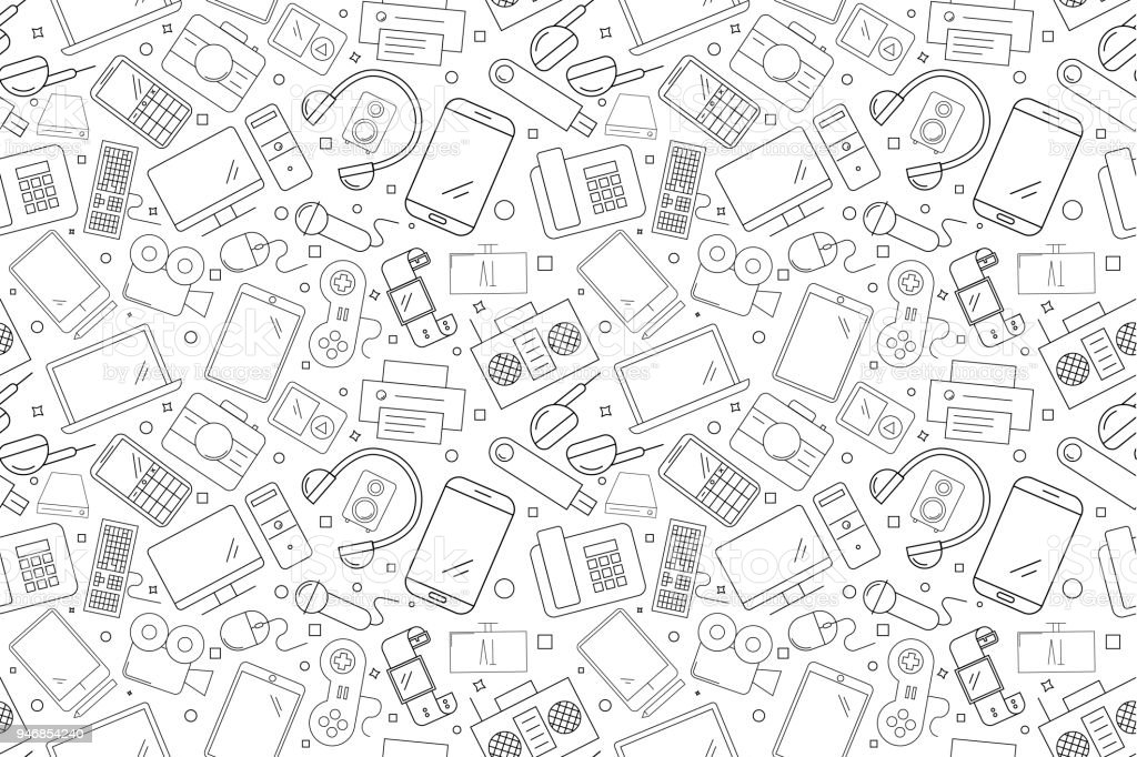 vector electronic and device pattern electronic and device seamless background stock