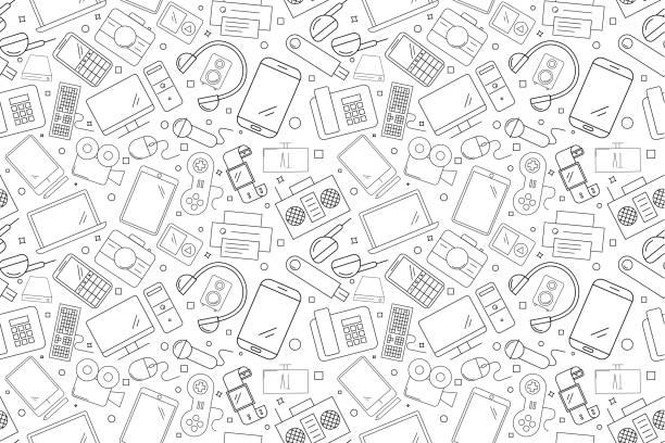 vector elektronische und gerät muster. elektronische und gerät nahtlose hintergrund - freizeitelektronik stock-grafiken, -clipart, -cartoons und -symbole