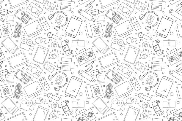 vector electronic and device pattern. electronic and device seamless background - electronics stock illustrations, clip art, cartoons, & icons