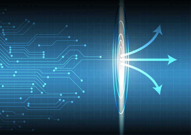 Vector : Electronic circuit and arrows on blue grid vector art illustration