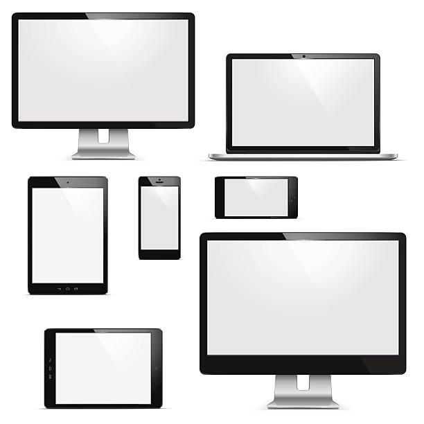vektor elektronische geräte mit - farbwahrnehmung stock-grafiken, -clipart, -cartoons und -symbole