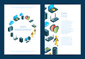 Vector electronic system of data center icons card or flyer template illustration
