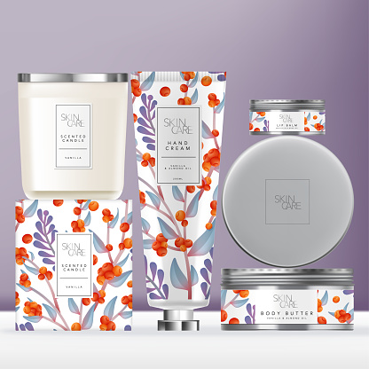 Vector Elegance Flower Pattern Toiletries or Skin Care Set with Hand Cream Tube, Scented Candle with Metallic Lid & Metallic Lip Balm or Body Butter Tin Jar. Carton Box Outer Packaging.