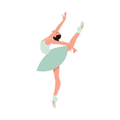 Vector elegant ballerina in tutu dress dancing