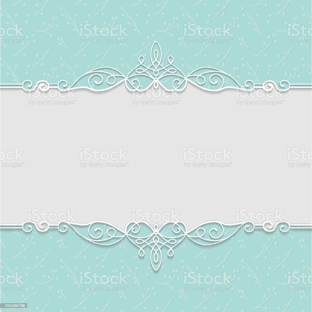Vektor Eleganten Rahmen In Türkis Farben Für Hochzeitseinladungen