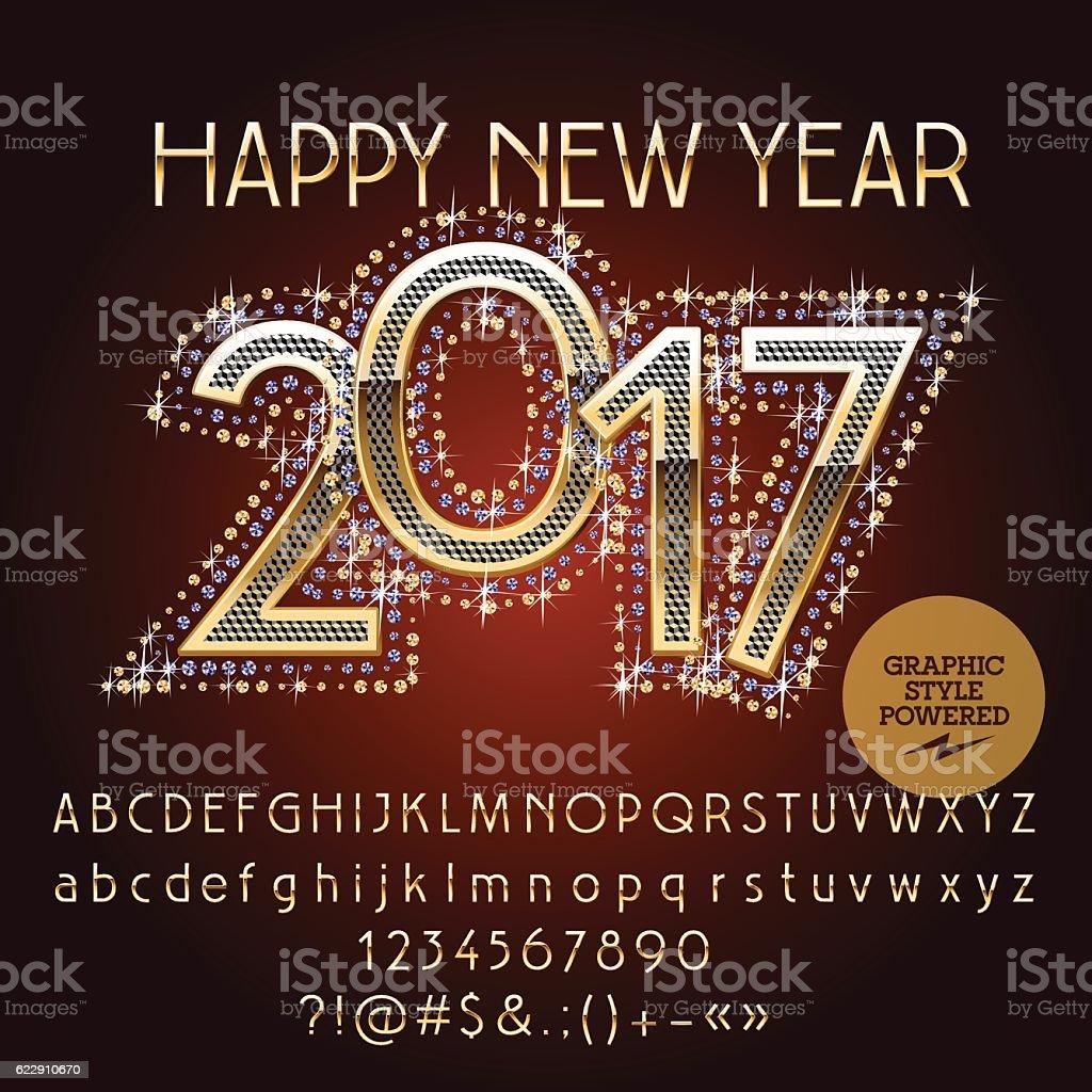 vector elegant glitter happy new year 2017 greeting card royalty free vector elegant glitter happy