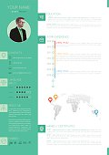 Vector Elegant Minimalist Style CV - Resume Template - Green White Color Design Version