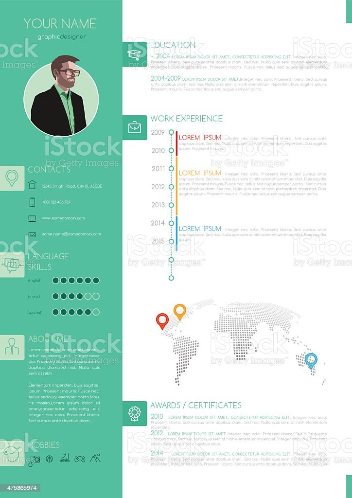 Vector Elegant Minimalist Style Resume - CV Template vector art illustration