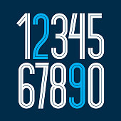 Vector elegant tall numbers collection made with white lines, can be used in poster art creation for social or commercial announcement