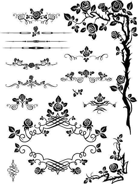 Vector elements and page decoration with roses Vector elements and page decoration with roses sharp stock illustrations