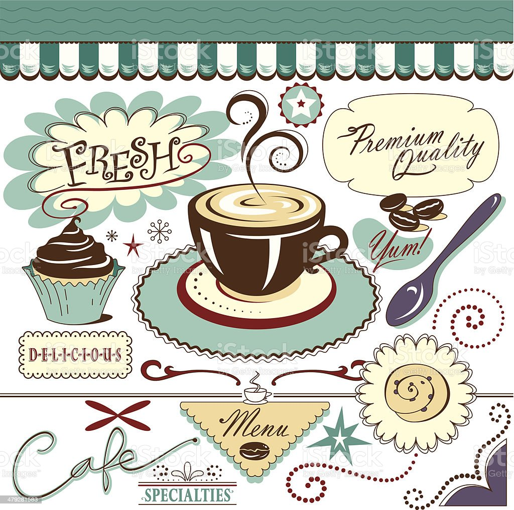 Vector Elements, Cafe Grouping, Sweets vector art illustration