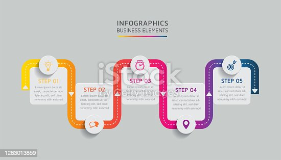 Vector elements for infographics. presentation and chart. steps or processes.  options number workflow template design.5 steps.