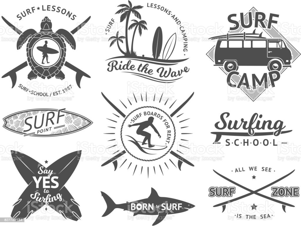 Vector elements for labels or badges. Surfing, hawaii surfboard and sea. Monochrome illustration set vector art illustration