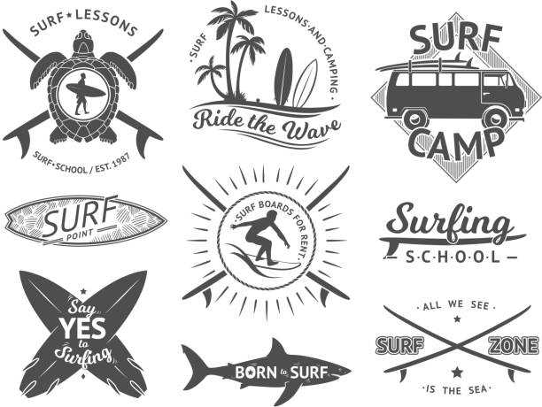 Vector elements for labels or badges. Surfing, hawaii surfboard and sea. Monochrome illustration set Vector elements for labels or badges. Surfing, hawaii surfboard and sea. Monochrome illustration set. Surfer monochrome emblem of set surf stock illustrations