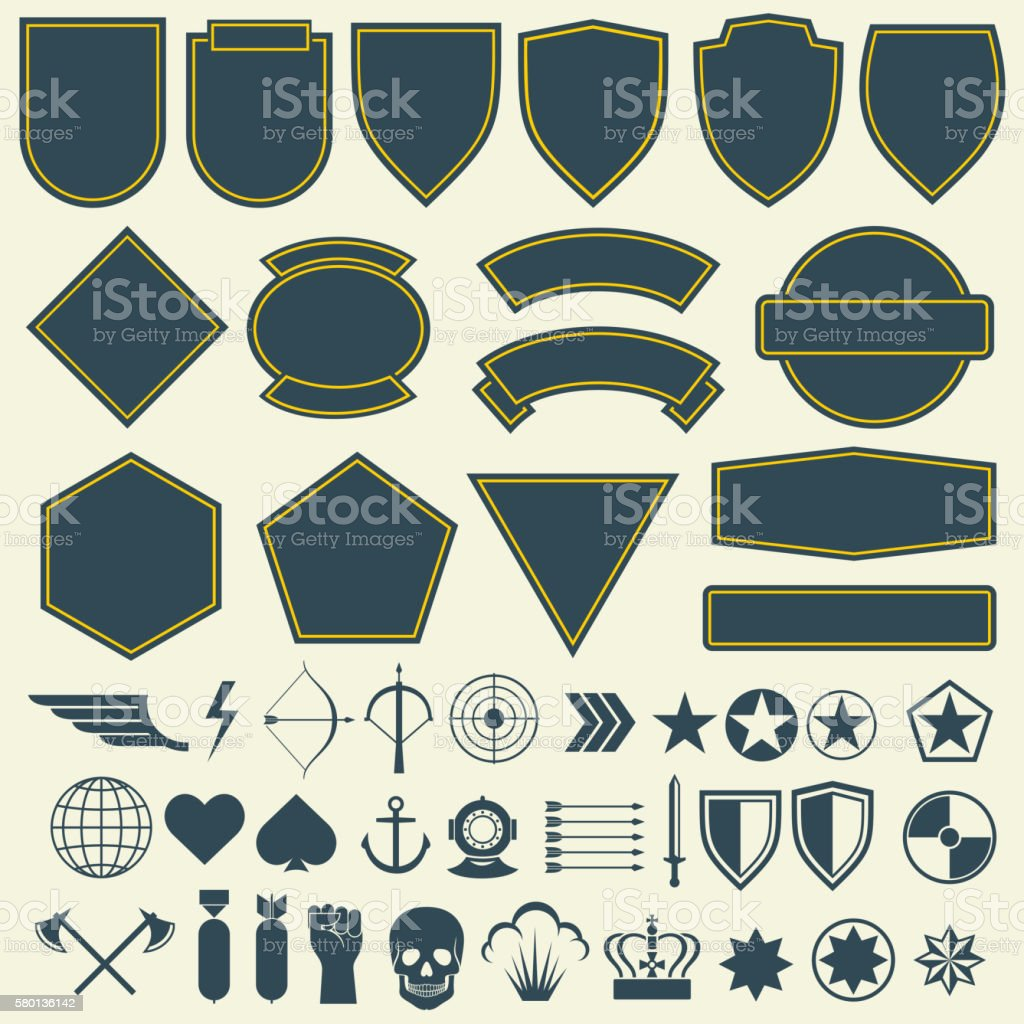 Vector elements for military, army patches, badges set vector art illustration