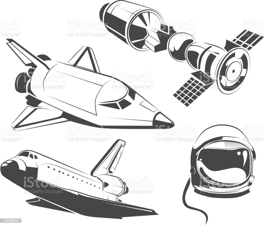 Vector Elements For Vintage Space Astronaut Labels And Emblems Royalty Free