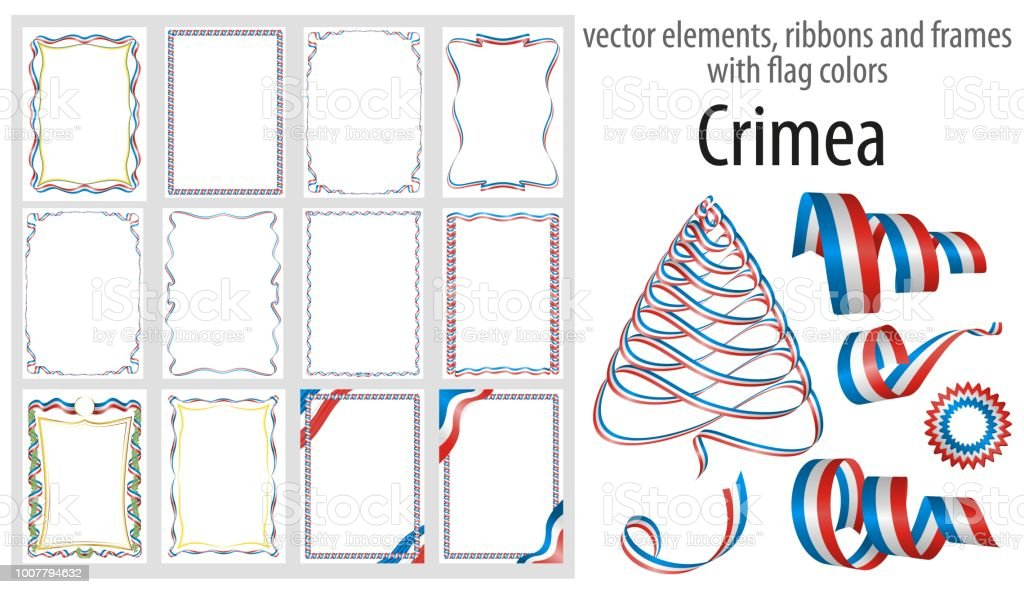 vector elements ribbons and frames with flag colors crimea template