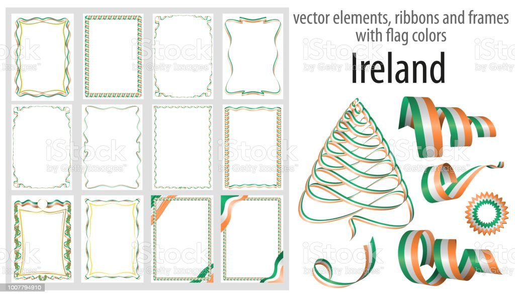Vector Elements Ribbons And Frames With Flag Colors Ireland Template ...
