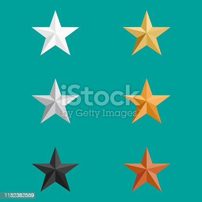 Vector Elements Set. 3d Metal Stars Gold Silver Bronze