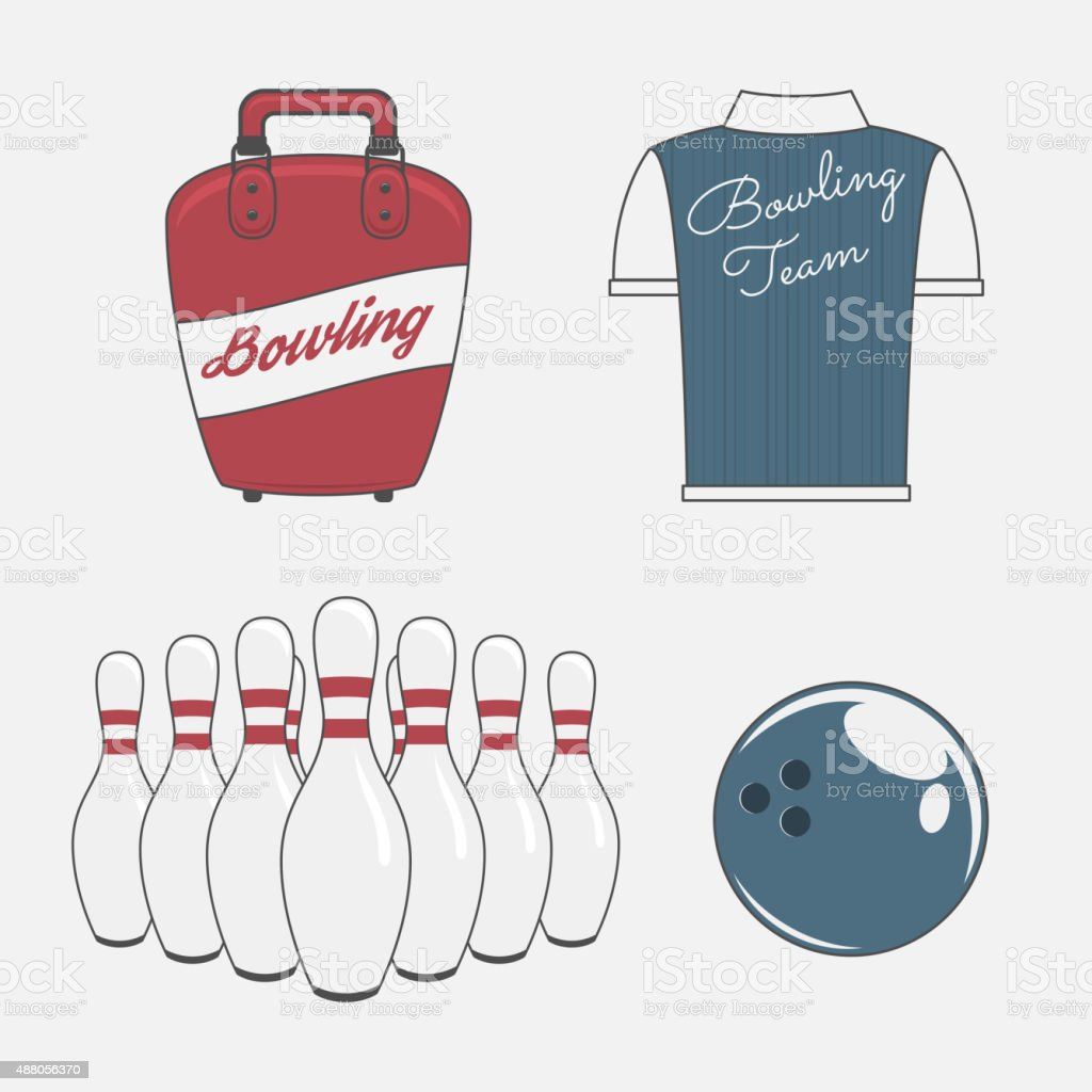 Vector Elements Set for a Bowling Team vector art illustration