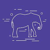 Vector Elephant Line Icon.
