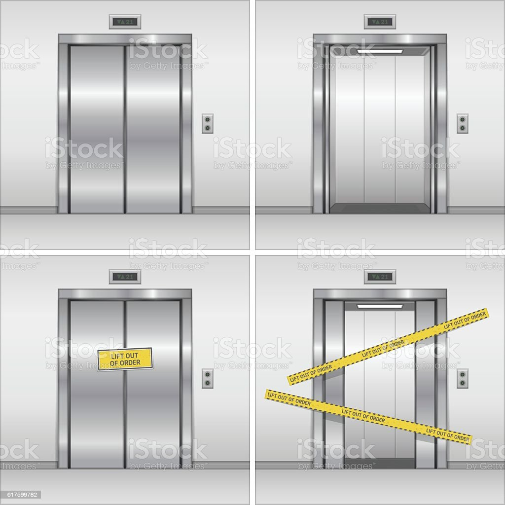 Vector elevator set. vector art illustration