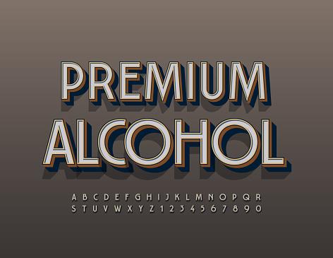 Vector elite emblem Premium Alcohol. Elegant Alphabet Letters and Numbers set