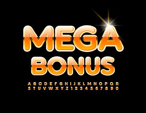 Vector elite logo Mega Bonus. Gold and Orange Alphabet Letters and Numbers set