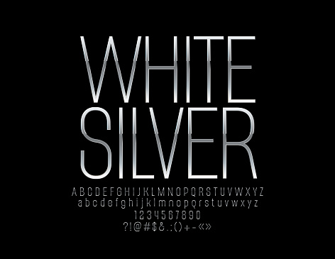 Vector elite White Silver Font