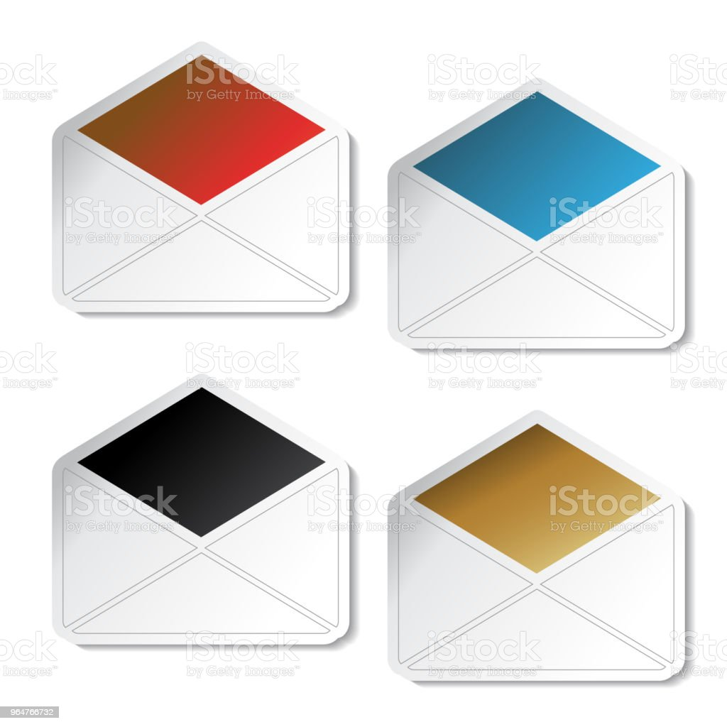 Vector e-mail stickers, symbol of envelope for send message royalty-free vector email stickers symbol of envelope for send message stock illustration - download image now