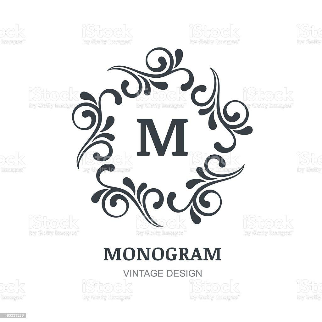 Vector emblem abstract design vintage elegant monogram