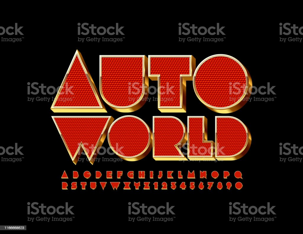 vector emblem auto world with elite uppercase font red and golden premium alphabet stock illustration download image now istock https www istockphoto com vector vector emblem auto world with elite uppercase font red and golden premium alphabet gm1166668623 321466467