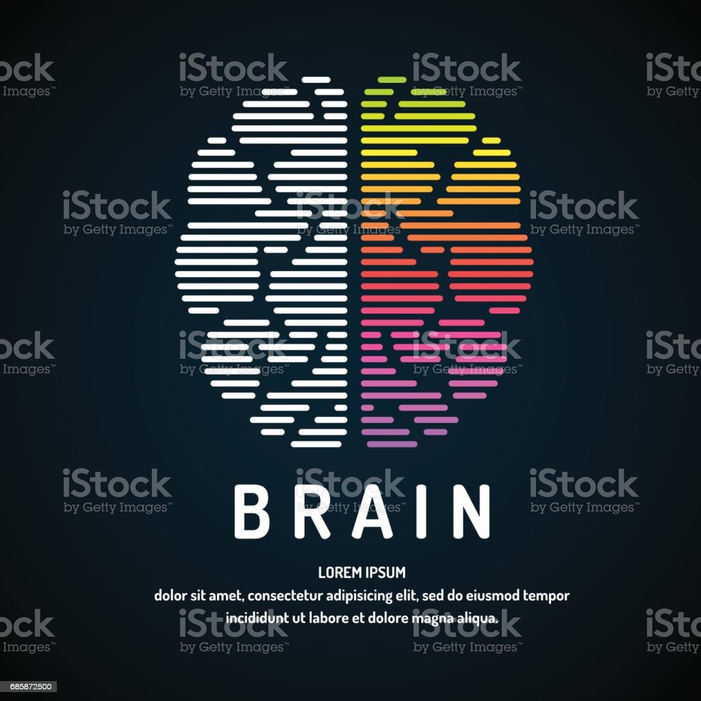Vector emblem brain color silhouette vector art illustration