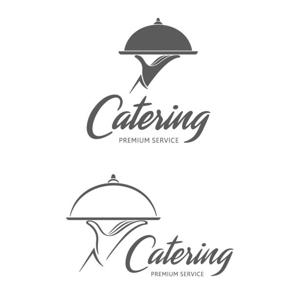 illustrazioni stock, clip art, cartoni animati e icone di tendenza di vector emblem design. catering service - mestiere nella ristorazione