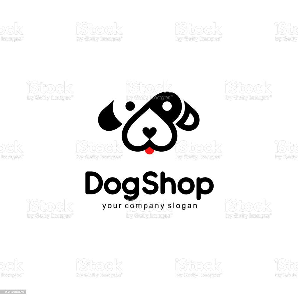 Vector  emblem design. Dog icon vector art illustration