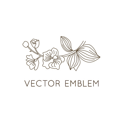 Vector emblem design template - floral illustration in simple minimal linear style - emblem and icon for natural cosmetics packaging