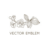 Vector emblem design template - floral illustration in simple minimal linear style