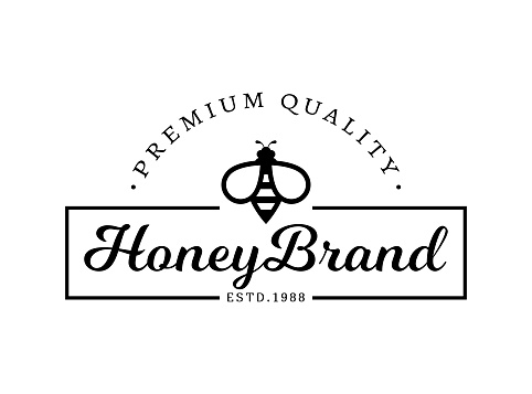 Vector emblem for honey brand. Logo template with bee.