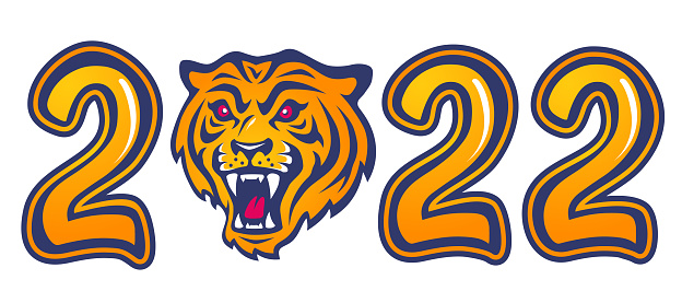 Vector emblem for new year of 2022 with head of a tiger.
